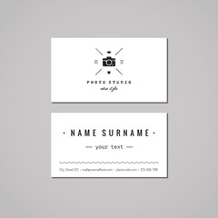 Photo studio business card design concept. Photo studio logo with photo camera, crown and heart. Vintage, hipster and retro style. Black and white.