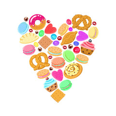 Pastries, sweets and candies vector heart background (multicolored)