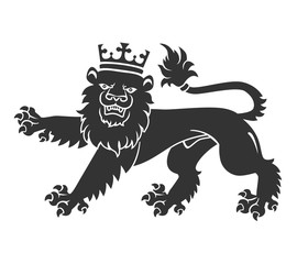 Black Lion With Crown