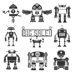 Funny Robots Silhouette