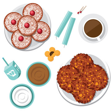 Bird's eye view of Jewish holiday Hanukkah items menorah candles, donuts, dreidel, potato pancakes (latkes), applesauce, gelt (chocolate coins) and sour cream.