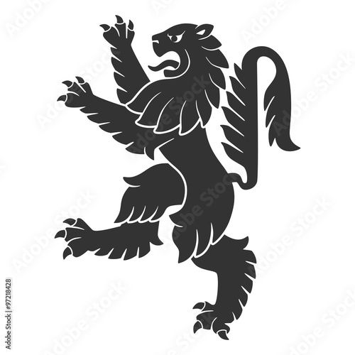 Black Attacking Lion