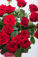 bouquet of blossoming dark red roses