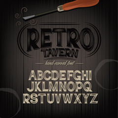 Stylized pub tavern bar carved hand drawn font alphabet. Perfect for label design. Carvings are knocked out of letters and lets background show through. EPS 10 royalty free vector illustration.