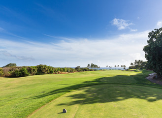 Golf tee marker on fairway overlooking ocean in Lihue Kauai