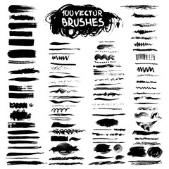 Big collection of vector art brushes.