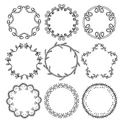 Set of hand drawn round frames.