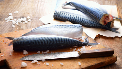 Fresh mackerel on the board.