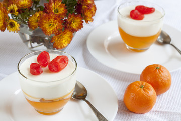 Vanilla and orange Panna Cotta in the cup on white saucer