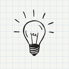 Light bulb icon (idea symbol) sketch in vector. Hand-drawn doodle sign