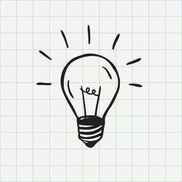 Light bulb icon (idea symbol) sketch in vector. Hand-drawn doodle sign