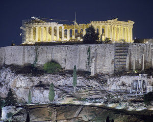 Athens, Greece, night view of Parthenon temple on Acropolis hill