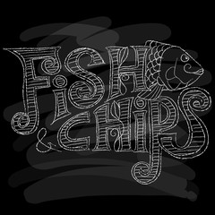 Fish and chips Menu. Chalk on a blackboard. Vector illustration