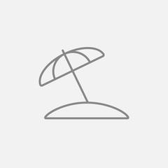 Beach umbrella line icon.