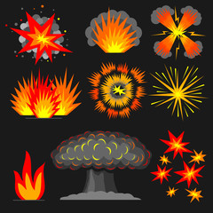 Set cartoon explosions. Set of various cartoon explosions, fire outbreaks reactions.