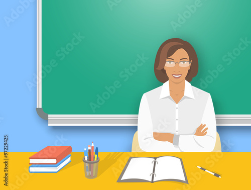 school teacher at desk flat education vector illustration young smiling african american woman. Black Bedroom Furniture Sets. Home Design Ideas