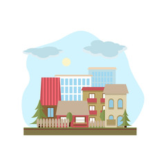 Flat design urban landscape day illustration