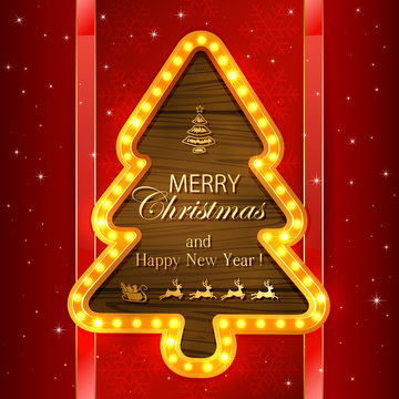 Red Christmas background with light frame