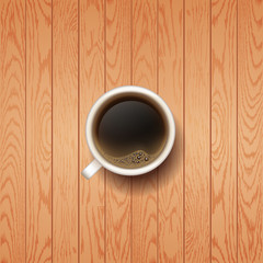 Hot Coffee cup wooden vector background