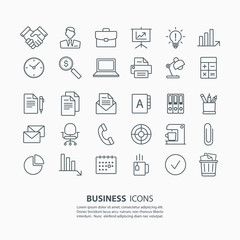 Outline business and office icons set. Vector illustration.