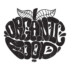 Organic food black and white lettering. Letters in apple shape. Organic food background.