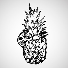 Hand drawn pineapple with orange