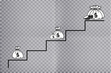 Money concept. Steps with money.