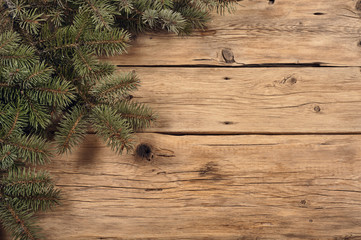 Branch of a Christmas tree on wooden background