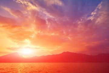 Garda lake at sunset