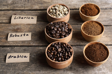 Collection of coffee beans on old wooden table, close up