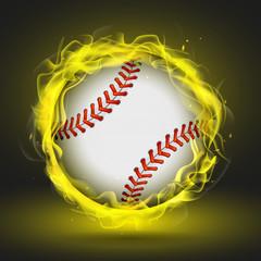 Vector baseball ball in yellow flame