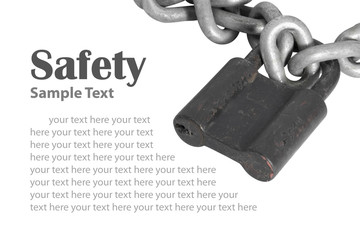 Old padlock/Old padlock with sample text on white background.