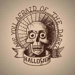 Vector halloween hand draw skull. Eps10