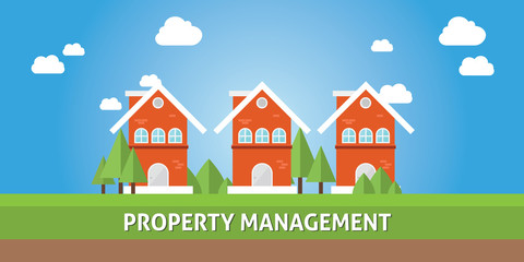 property management with real estate house cartoon