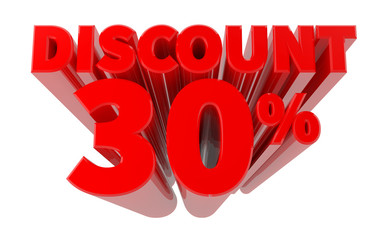 3D DISCOUNT 30% word on white background 3d rendering