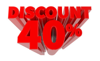 3D DISCOUNT 40% word on white background 3d rendering