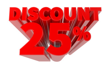 3D DISCOUNT 25% word on white background 3d rendering