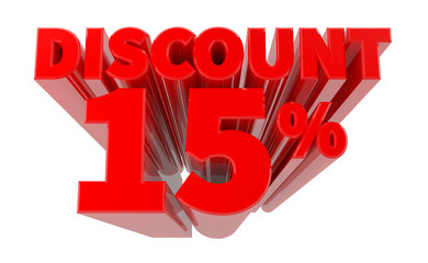 3D DISCOUNT 15% word on white background 3d rendering