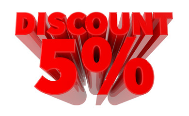 3D DISCOUNT 5% word on white background 3d rendering