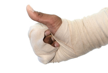 White medicine bandage injury hand on white background