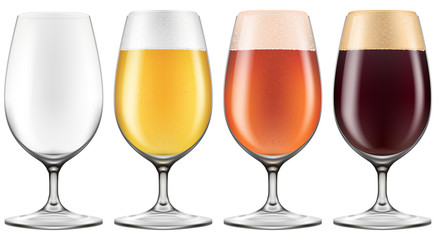 Elegant craft beer glass in four versions for lager, ember ale and stout with an empty one also included. Photo-realistic vector.