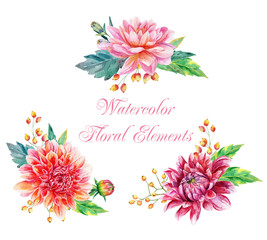 Watercolor set of floral elements for design.