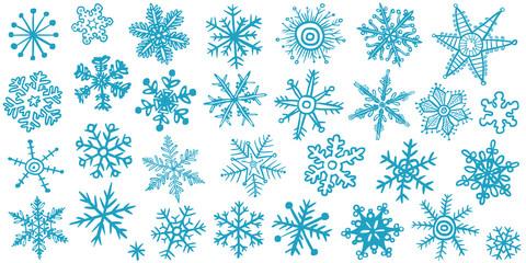 Vektor-Set: 30 Schneeflocken, blau, handgezeichnet, Vektor, freigestellt