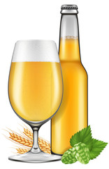 A glass and a bottle of beer with barley and hops. Photo-realistic vector illustration.