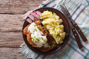American food: Country Fried Steak and White Gravy horizontal top view