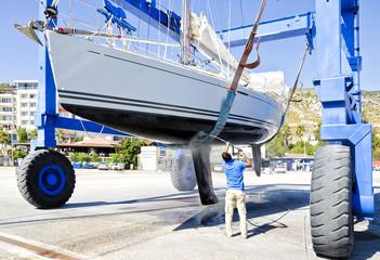 Washing of Yacht Bottom