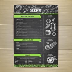 Vintage vegetarian food menu design.