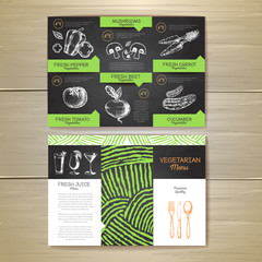 Vintage chalk drawing vegetarian food menu design. Corporate ide