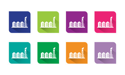 Industrial Building Icon Vector Flat and Long Shadow With Eight Colors Options