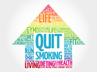 Quit Smoking arrow word cloud, health concept